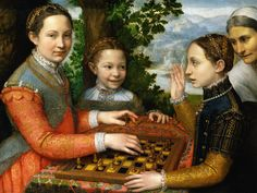 Love the hair bits and check out the coral necklace Lucia, Minerva and Europa Anguissola Playing Chess, 1555. (Sofonisba Anguissola.)