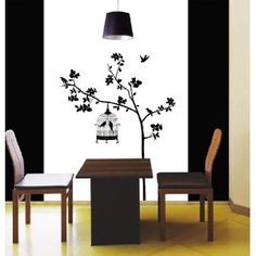 Reusable Decoration Wall Sticker Decal - Parisian Spring Bird in Tree Silhouette $11.71