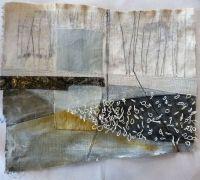 Marshscape Collage #11, Cotton duck, linen, wax, metal, linen thread Debbie Lydon