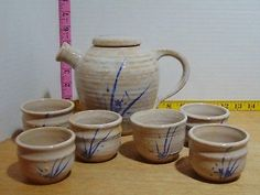 Hand Crafted Hand Painted Clay Tea Pot With Six Cups Dish Sets, Tea Pots, Cups, Hand Painted, Tableware, Crafts, Painting, Decor, Mugs