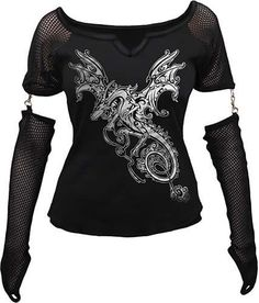 I found 'Dragon Shimmer Mesh Sleeve Top' on Wish, check it out!