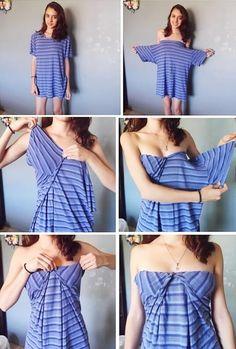 Transform shirt into dress