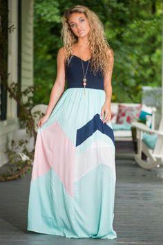 Different Strokes Maxi Dress, Mint-Navy