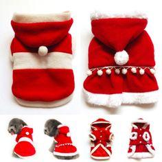Santa Claus Dog Cat Costume Red Coat Dress Pet Apparel Dog Clothes XS s M L XL | eBay $12-$15