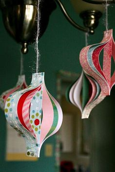 What a great way to recycle and use up scraps of wrapping materials to make beautiful ornaments