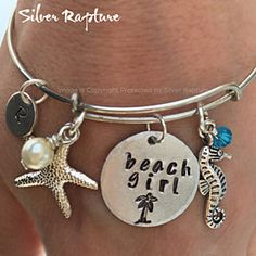 Beach Girl Bangle, Silver Bracelet inspired by Alex & Ani, Adjustable Hand Stamped Beach Girl, Sea Glass Charm Cuff Gift by SilverRapture on Opensky