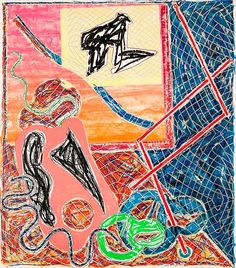 """Aptly titled Shards, this print depicts fragments of former objects. Richard H. Axsom points out the re-occurring images in this work that are amongst Stella's favorite motifs: French curves, """"cookie cutouts,"""" the serpentine and heart shaped forms, as well as the pantograph, a draftman's device for duplicating and enlarging forms (p. 154).Masterworks Fine Art"""