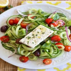Spiralized Greek Cucumber Salad with Lemon and Feta — Find Your Force