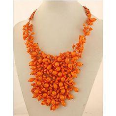 EUR € 39.35 - mode lyxvara apelsin färg pärlor uttalande halsband (1 st), Gratis frakt för alla Gadgets!, miniinthebox