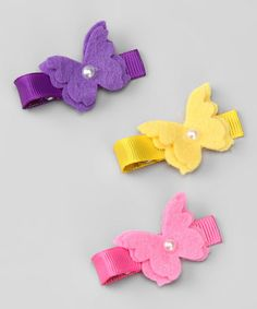 Take a look at this Purple, Yellow & Pink Butterfly Clip Set by Hair Flair on #zulily today!