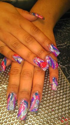 Iconic NailzbyNeeNee  freehand designs with 3d lips