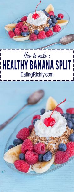 This delicious but Healthy Banana Split Recipe is magic for your tastebuds and waistline and perfect for making with your kids From EatingRichlycom Click the image for more info. Healthy Dessert Recipes, Clean Eating Recipes, Healthy Desserts, Delicious Desserts, Snack Recipes, Yummy Food, Tea Recipes, Fruit Recipes, Smoothie Recipes