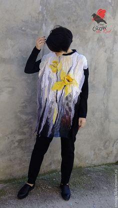 """Платья ручной работы. Ярмарка Мастеров - ручная работа. Купить платье-туника """"Нарциссы"""". Handmade. Желтый, Валяние"""