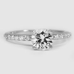 18K White Gold Sapphire Petite Shared Prong Diamond Ring // Set with a 6.5mm White Round Sapphire #BrilliantEarth