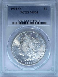 1904 0 Certified MORGAN Silver Dollar Coin Graded MS64 by PCGS, Gift for Dad, Birthday, Graduation, Collect, Invest, Uncirculated, Slabbed by RareCoinsTreasures on Etsy