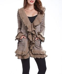 Loving this Khaki & Black Ruffle Open Cardigan - Plus on #zulily! #zulilyfinds