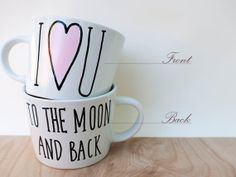 I Love You to the Moon and Back // Handpainted Coffee Mug // Love Quote // Valentine's Gift for Couple on Etsy, $17.95