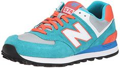 New Balance Women's WL574 Core Plus Collection Running Shoe, Blue/Orange/White, 9 B US New Balance
