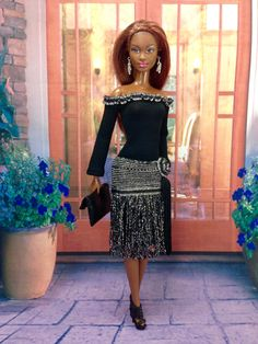 Barbie Doll Clothes - Black and Silver Evening Dress with Earrings, Shoes, and Purse by EnchantedStyles on Etsy