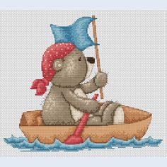 Teddy Bruno - Sailing Away - counted cross-stitch kit  - Luca-S