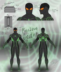 Recluse-Spider Suit Design Final by on DeviantArt Spider Art, Spider Verse, Iron Man Poster, Flash Comics, Spiderman Suits, Spectacular Spider Man, Black Anime Characters, Superhero Design, Spider Man