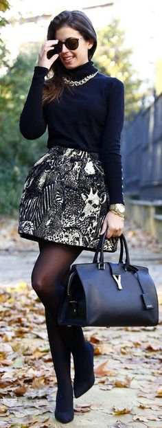 Black Knit Turtleneck + Patterned Skirt + Gold Chain Statement Necklace