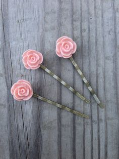 Vintage Pink Resin Flower with Antique Bronze Plated Bobby Pins, Set of Three, Pastel Pink Flower Bobby Pins, Soft Pink Flower Bobby Pins on Etsy, $12.00