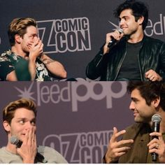 Matt almost spoiling things Alec And Jace, Dominic Sherwood, Jamie Campbell Bower, Matthew Daddario, Clace, Film Serie, Shadow Hunters, The Mortal Instruments, Love Of My Life