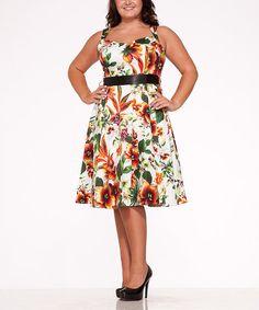 Look at this #zulilyfind! White & Orange Floral Sweetheart Dress - Plus #zulilyfinds