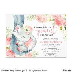 Elephant baby shower girl floral pink cream invitation Invitacion Baby Shower Originales, Imprimibles Baby Shower, Baby Shower Invitaciones, Elephant Baby Shower Girl, Girl Shower, Shower Baby, Pink Elephant, Elephant Gifts, Bridal Shower