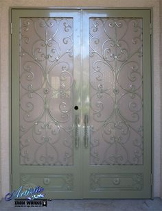 Wrought Iron Scrolled Security Screen  Double Doors