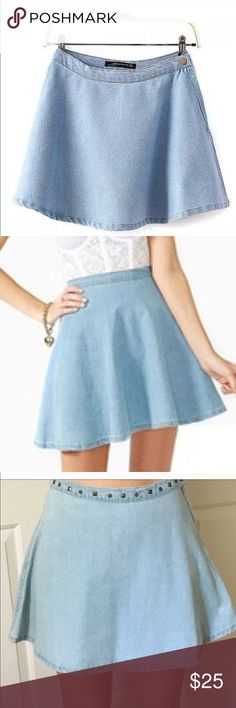 Light Denim Skater Skirt Light denim skater skirt. Size Small but can but medium. Size reference i wear anything from 23-25 or even 26 depending on the brand. It shows as sold on my posh page but the buyer cancelled so it never got sold and pm wont let me delete the post so i can repost it. NOT BRANDY MELVILLE USING FOR EXPOSURE. VERY SIMILAR TO BRANDY STYLE. Brandy Melville Skirts Circle & Skater