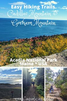 Acadia National Park is stunning, especially in the fall. It's filled with great ocean vistas, rocky trails and pops of red and yellow. Cadillac Mountain and Gorham Mountain are two easy hikes/drives along Park Loop Road that will give you a quick way to take it all in! #acadianationalpark #nationalparks #hiking #easyhikes #trails #maine Arcadia National Park, National Parks Map, National Park Posters, Mountain Trails, Hiking Trails, Cadillac, Travel Usa, Adventure Travel, Travel Inspiration