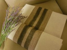 Rustic Burlap and Grain Sack Stripes Table Runner 14 x 72.  http://www.TheRusticTwigUS.etsy.com
