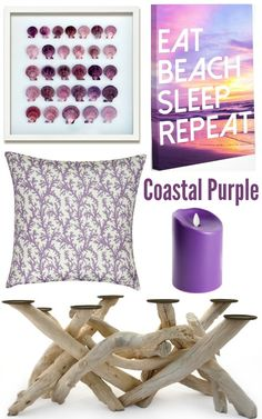 Purple Living Room Decor Inspired by the Coast | Shop the Look - Completely Coastal: http://www.completely-coastal.com/2016/09/purple-living-room-decor.html