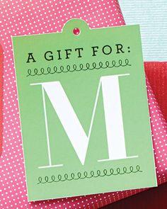 Monogrammed free printable Christmas gift tags