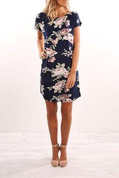 Women's Short Sleeve Floral Summer Sundress Casual Dress Floral Blue