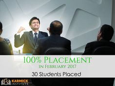 For the third month in a row Karmick Institute has maintained a record of 100% placement! You too can make a difference. #Career