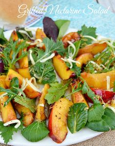 Quick, easy and deliciously refreshing Grilled Nectarine Salad - this salad goes well with just about any main dish !
