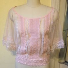 Charlotte Russe Lace Embellished Kimono Sleeve Top Worn several times but still in great condition, this top is flirty and feminine with a splash of elegance!  Large keyhole opening on the back and a scalloped lace waist. Charlotte Russe Tops Blouses
