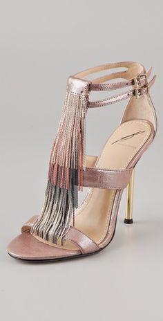 B Brian Atwood Lenoire Metalik Fringe Sandalet