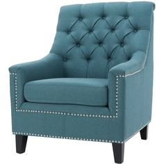 Jaclyn Tufted Club Chair - Dark Teal - Christopher Knight Home Blue Armchair, Swivel Armchair, Blue Accent Chairs, Fireplace Tv Stand, Wood Arm Chair, Contemporary Fabric, Room Color Schemes, Extra Seating, Dark Teal