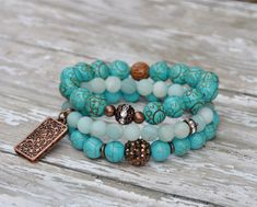 NEW Turquoise and Bronze Beaded Bracelets / Designer Bracelets / Set of 3 via Etsy
