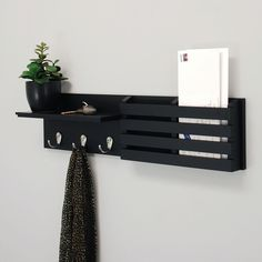 nexxt Sydney Wall Shelf and Mail Holder with 3 Hooks - CNC Projekte - Minimalismus Mail Holder Wall, Mail And Key Holder, Diy Key Holder, Wall Mounted Shelves, Display Shelves, Coat Rack Shelf, Entryway Organization, Organization Ideas, Key Organizer