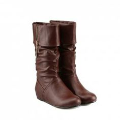 $27.20 Fashionable Women's Mid-Calf Boots With Solid Color zipper Design