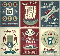 6 vintage car repair poster vector