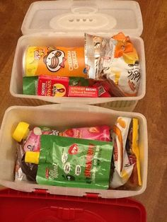 Old baby wipes container as a snack box for a long car trip - 1 for each kid. Good idea!