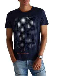 BRAND PRINT SLIM FIT T-SHIRT, Navy Blazer