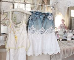 This denim and cotton skirt with a little vest top and cowboy boots would be so vintage pretty