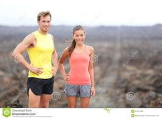 Portrait Of Runner Couple Resting After Running Royalty Free Stock ...
